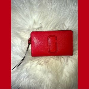 Marc Jacobs red THE SNAPSHOT DTM COMPACT WALLET